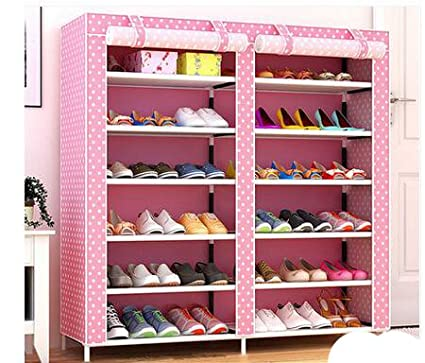 shoe rack with dustproof cover closet shoe storage cabinet organizer pink - Closet Shoe Rack