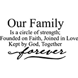 Our family is a circle of strength; founded on faith, joined in love Kept by God, together forever wall art wall sayings