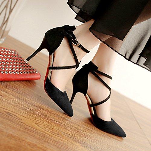5 Shoes Straps Fino Con De Punta Coreano Black Boca La 8 De Tacón CM MUYII Baja Nuevo Alto Con Zapatos Mujer Foot qPWwARH