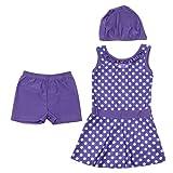 MagiDeal Kids Girls Modest Mini Dress Pants Cap Swimwear Polka Dot Swimsuit Protective Muslim Islamic Swimsuit 80cm-160cm - Purple, 150cm