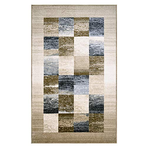 Blue Nile Mills Digitally Printed, Low Maintenance, Affordable and Fashionable, Non-Slip Lockwood Area Rug, 5 x8 , Cream