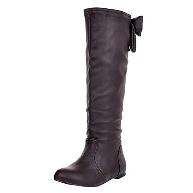 release date: 20c4c e29ea Elsta Damen Winter Warm Lange Stiefel Solide Bowknot ...