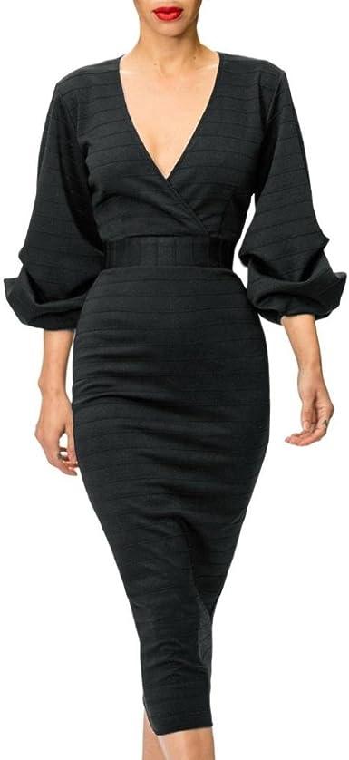 Poachers Robes Hiver Longue Chic Soiree Robe Noir Moulante Col V Profond Manchon De Lanterne Dress Taille S A Xl Xl Noir Amazon Fr Vetements Et Accessoires