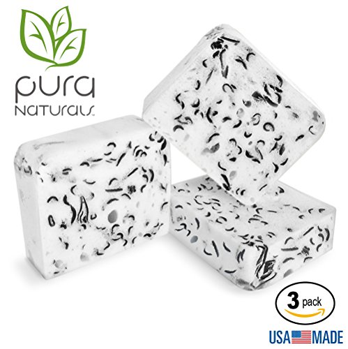 Pura Naturals Body Wash Sponge Fight Acne W  Charcoal   Tea Tree  Soap Infused  Deep Cleansing Buffs Replace Exfoliant  Washcloths   Loofah  No Chemicals Abrasives  3 Pack Activated Charcoal Tea Tree