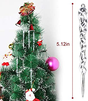 Coxeer Xmas Icicle Ornaments 24pcs 5 12 Christmas Decorations Tree Icicle For Holiday Hanging Icicle Ornaments Twisted Clear Plastic Icicles Party Wedding Decorations Clear Kitchen Dining