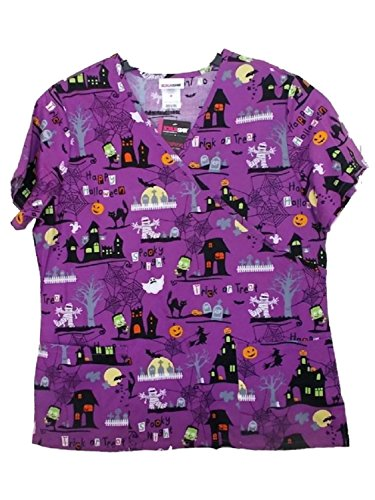 ScrubStar Purple Halloween Scrub Top (Halloween Scrubs)