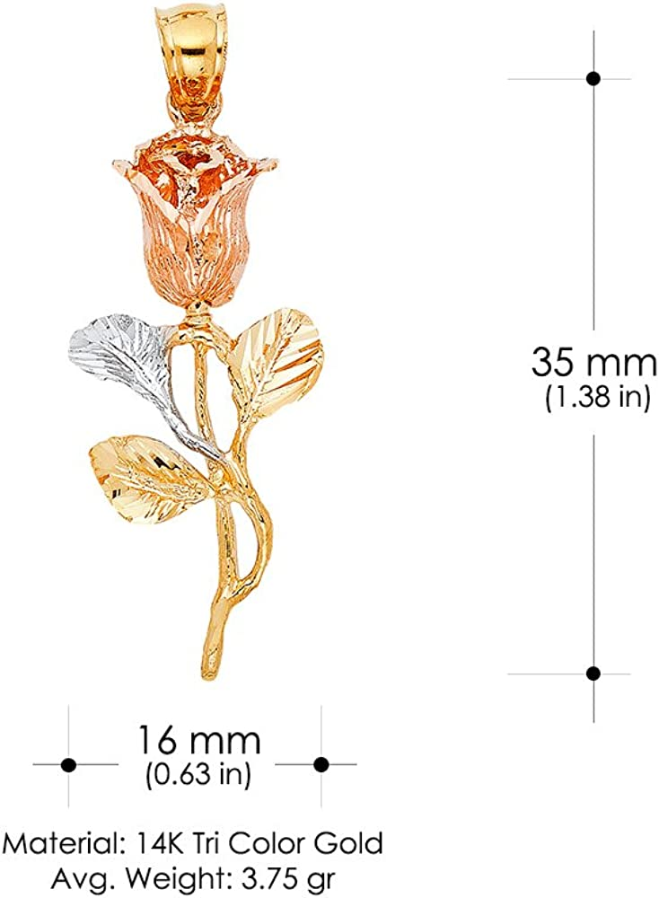 14K Tri Color Gold Rose Charm Pendant For Necklace or Chain