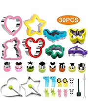 Sandwich Cookie Cutter Stainless Steel for Kids FDA LFGB Certified 4Pcs Large Sandwich Cutters, 4Pcs Medium Cookie Cutters, 8Pcs Vegetable Cutters, 2Pcs Egg Ring Mold,10Pcs Food Fork for Lunch Party