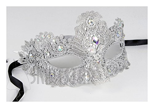 [Women's Masquerade Mask with Brocade and Crystal (Light Silver/AB Finish)] (Silver Mask)