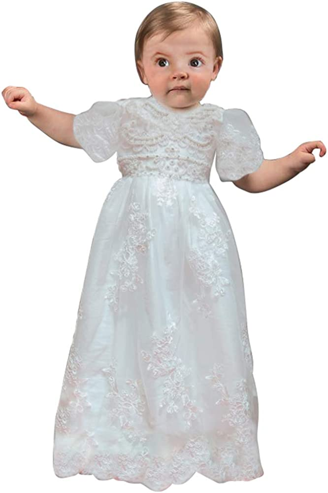 Banfvting Lace Long Baby Girls Dress Christening Gowns With Sleeves