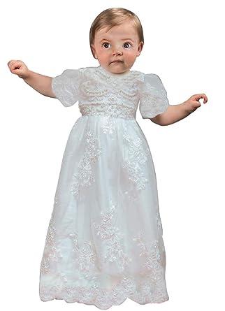 8bca86ecd3a6 Amazon.com  Baby-Girls Lace Christening Gowns Round Neck Rhinestone ...