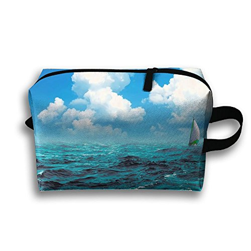 Ministoeb Storage Bag Travel Pouch Sea Wave Sailboat Illustration Purse Organizer Makeup Bag Data Wire Cosmetic Stationery Holder ()