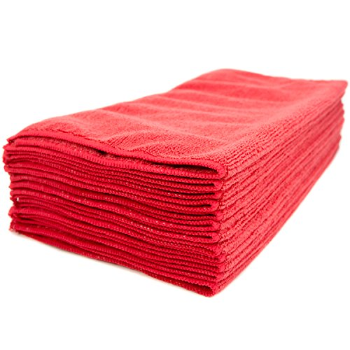 Zwipes Professional Microfiber Cleaning Cloth Towels, Premium Cleaning Supplies for Car Wash, Window Cleaner, Shop Towels, Counter Tops, Offices and more, 16x16 inch Towel Set, 12-Pack, Red