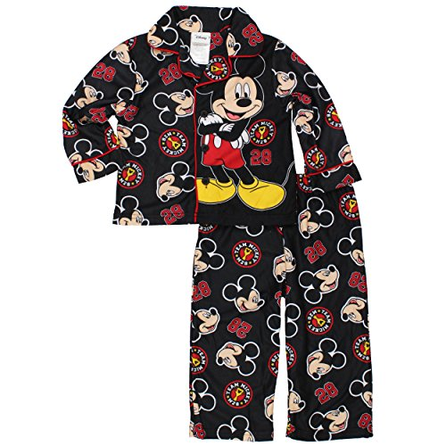 Long Sleeve Coat Style Pajamas (Mickey Mouse Little Boys Flannel Coat Style Pajamas (2T, Team)
