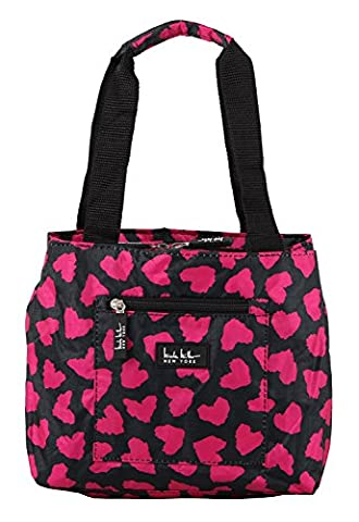 Nicole Miller of New York Insulated Lunch Cooler- Hot PInk/Black 11 inch Lunch Tote (Deep Purple Made In Japan Box Set)