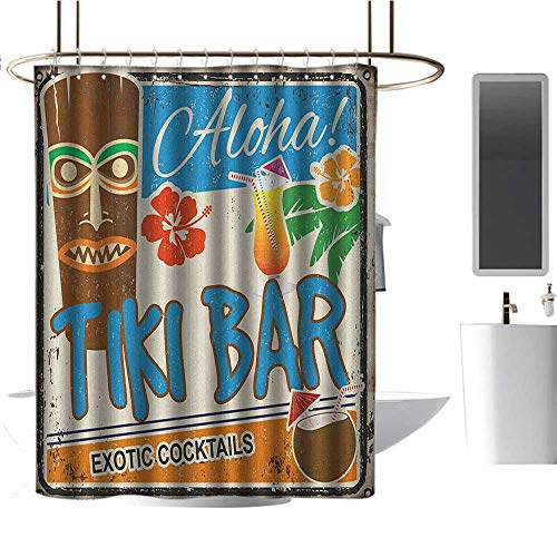 (Fabric Shower Curtain Tiki Bar,Rusty Vintage Sign Aloha Exotic Cocktails and Coconut Drink Antique Nostalgic,Multicolor,Waterproof Washable Antibacterial Bathroom Curtain 72