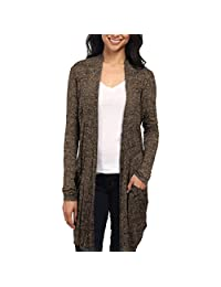 Hybrid & Company Womens Plus Ribbed Open Front Cardigan Top