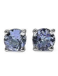 2.10ctw, 6mm Round Genuine Gemstones & Solid .925 Sterling Silver Stud Earrings