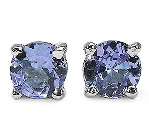 2.10ctw, 6mm Round Genuine Gemstones Solid .925 Sterling Silver Stud Earrings