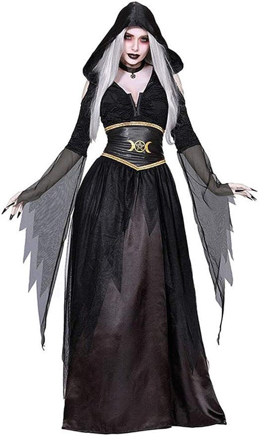 CAGYMJ Dress Party Mujer Vestido,Cosplay Negro Horror Bruja Diablo ...
