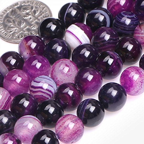 GEM-inside Gemstone Loose Beads Genuine Natural Stripe Purple Agate 8mm Round Banded Energy Stone Power Beads For Jewelry Making 15
