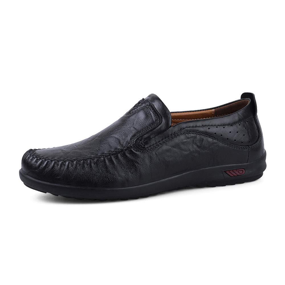JIALUN-Schuhe Männer Einfache Echtes Leder Weiche Slip on on on Mokassin-Müßiggänger Atmungsaktive Fahrschuhe Mode Slipper (Farbe   Light braun, Größe   45 EU)  1d969a