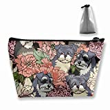 WASPA Schnauzer Dog Florals Makeup Bag Travel Cosmetic Bags - Multifuncition Storage Bag Organizer with Zipper