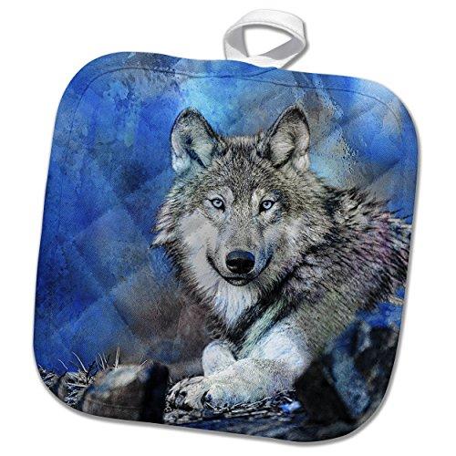 3dRose Andrea Haase Animals Illustration - Blue Wolf Wildlife Illustration - 8x8 Potholder (phl_263002_1)