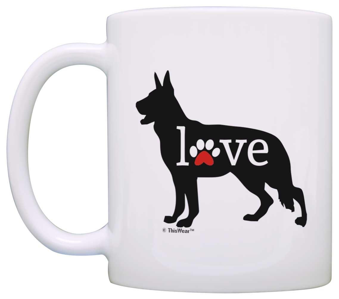 c93237bd47e7 Amazon.com: German Shepherd Mug K9 Love Dog Paw Prints Dog Lover 2 Pack  Heart Handle Gift Coffee Mugs Tea Cups Heart Handle: Kitchen & Dining