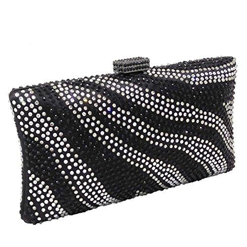 Bag Dinner Bag Evening Cheongsam Bag Fashion Banquet Clutch Black Chain Handbag Diamond Rhinestones Bag Silk Ladies xFfq640wn