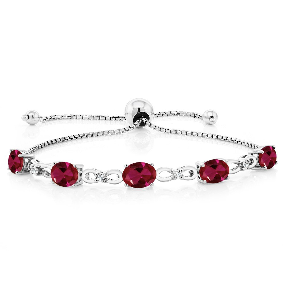 Gem Stone King 925 Sterling Silver Created Ruby and Diamond Women's Tennis Bracelet (4.50 Cttw, Adjustable up to 9 inches) by Gem Stone King