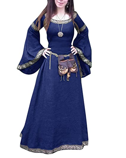 Liangzhu Vestido Largo Manga Larga Cuello Redondo De Mujer ...