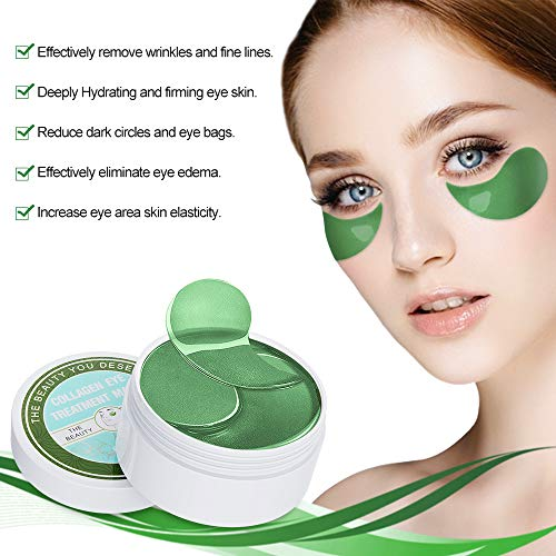 51PVBE shBL - Under Eye Patches Teamyo Collagen Eye Masks,Reduce Dark Circles & Puffiness Eliminate Eye Bags, Natural Eye Treatment Masks with Anti Wrinkles & Anti Aging, Moisturizer Deeply, 30 Pairs-Green