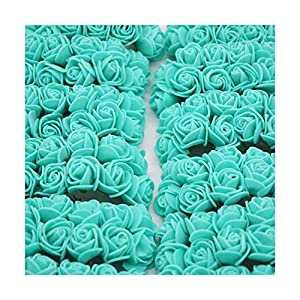 HANBINGPO 36/72/144pcs 2cm Decorative Teddy Bear Rose PE Foam Artificial Flower Bouquet for Home Wedding Decoration DIY Wreath Fake Flower,Teal,144pcs 113