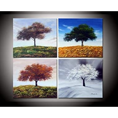 100% Hand-painted Best-selling Quality Goods Free Shipping Wood Framed on the Back Four Seasons Hillside Tree High Q. Wall Decor Landscape Oil Painting on Canvas 4pcs/set Mixorde