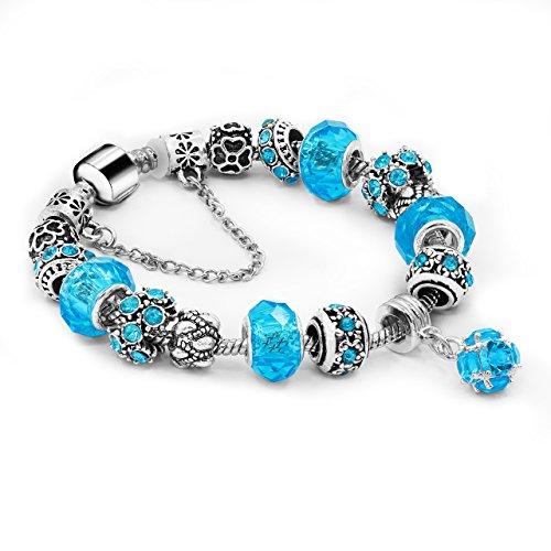 Daycindy Beaded Bracelet Bule Tone Handmade Carved Lotus Hand Chain Women Jewelry 19.5CM