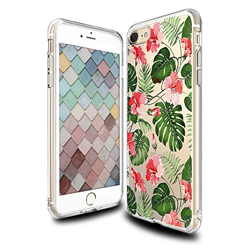 Price comparison product image iPhone 7 Floral Case, Crystal Clear with Design Cute Tropical Floral and Palm Texture Bumper Protective Case for Apple iPhone 7 4.7 Inch Gel Soft TPU Silicone Material Slim Shockproof Flower Cover