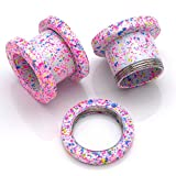 PiercingJ Pair 12G-5/8 (2-16mm) Color-electroplating Stainless Steel Screw Tunnels Ear Expander Stretcher Plugs Piercing Gauge, Pink