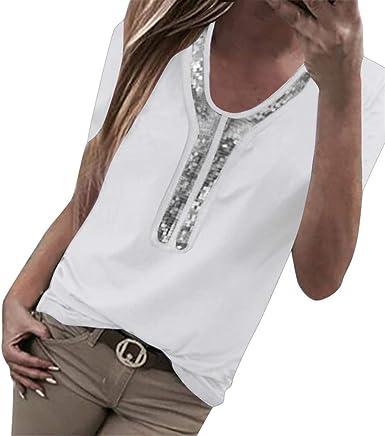 Tefamore Blusa Suelta de Mujer Manga Corta Camiseta con Lentejuelas Empalme Tops Casuales Camisa Mujer de Camiseta Tops Mujer Tallas Grandes: Amazon.es: Ropa y accesorios