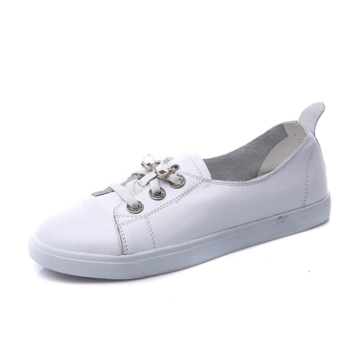 KPHY Chaussures Femmes/Le Cuir des Loisirs Petites Chaussures Blanches Printemps des Pédales Lâche Et Paresseux De Chaussures des Étudiants des Centaines De Chaussures