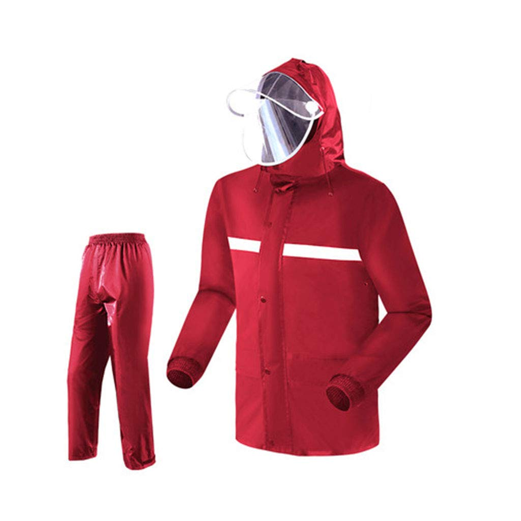 XJRHB Raincoat - Raincoat Rain Pants Set Waterproof Split Set Outdoor Raincoat Rain Pants, Multi Size (Color : Red, Size : XXXL) by XJRHB