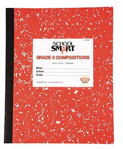 School Smart Skip-A-Line Ruled Composition Book, Grade 3, Red, 100 Pages