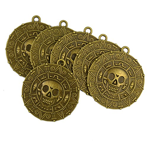 Dovewill 6 Pieces/ Lot Vintage Punk Halloween Aztec Coin Medallion Skull Necklace Pendant DIY Findings Crafts Jewelry (Skull Charm Pirate)