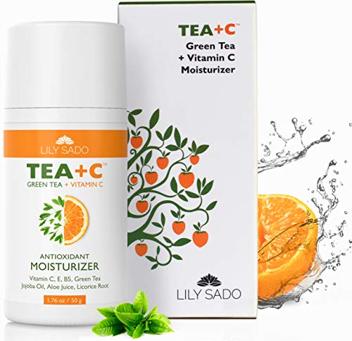LILY SADO Green Tea and Vitamin C Face Moisturizer Cream - Antioxidant, Anti-Wrinkle Natural Facial Moisturizing Lotion for Women & Men - Softens, Hydrates, Revitalizes, Firms & Tones for Amazing Skin