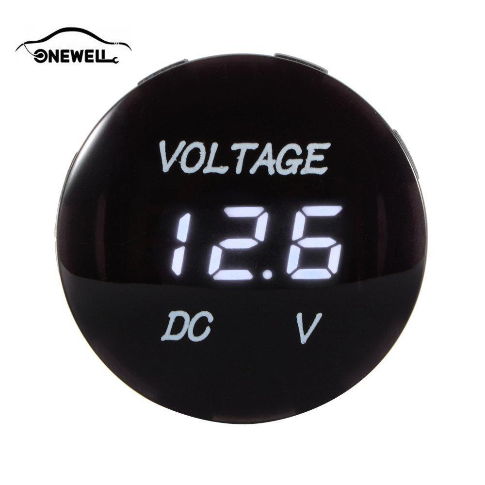 Onewell Universal Voltmeter Waterproof Voltage Meter Digital Volt Meter Gauge Red LED for DC 12V-24V Car Motorcycle Auto Truck BI181+
