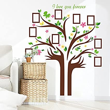 Superieur 57u0026quot;x68u0026quot; Giant Brown Family Photo Tree Huge Hand Shape Tree Wall  Decor Stickers