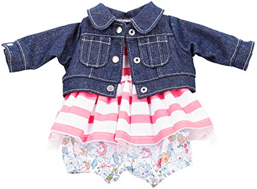 Gotz Combination Outfit with Denim Jacket Flower Pants and Striped Dress for 16.5