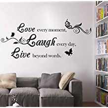 """BIBITIME """"Love Every Moment,laugh Every Day, Live Beyond Words """" 3 Butterflies Wall Quote Art Sticker Decal for Home Bedroom Decor Corp Office Saying Mural,31.49"""" x 15.74"""""""