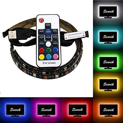 AveyLum LED Strip USB 1M / 3.28ft Waterproof RGB LED Stripes TV Monitor Background LED Rope Light 5050 SMD LED Backlight with IR Remote