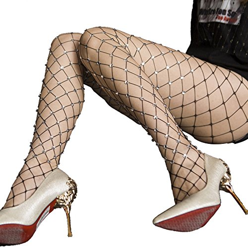 Haotfire Fishnet Stockings Hollow Stretchy Tights Seamless Sexy Net Pantyhose Women (Fishnet Seamless Halter)